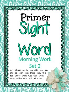 Primer Sight Word Morning Work Set 2