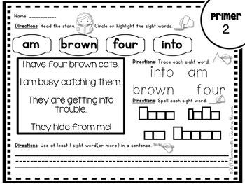 Primer Sight Word Passages
