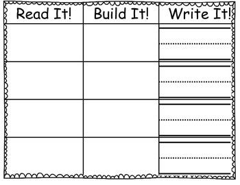 Primer Sight Word Practice - Read it, Build it, Write it