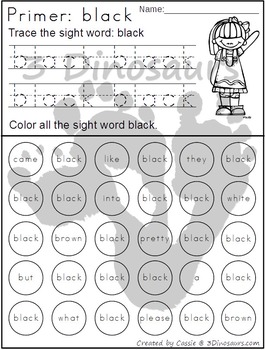 Primer Sight Word Trace & Find the Word