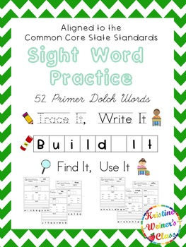 Primer Sight Word Work {Trace It, Write It, Build It, Find It, Use It}