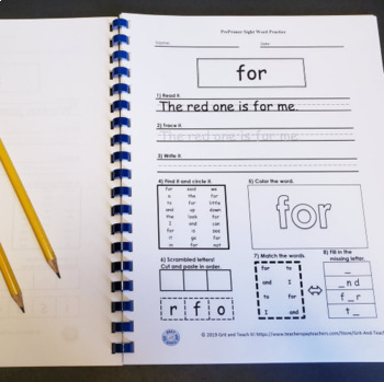 Primer Sight Word Workbook