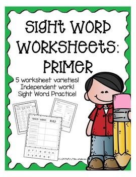 Primer Sight Word Worksheets FULL Pack