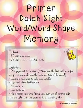 Primer Sight Word and Word Shape Memory
