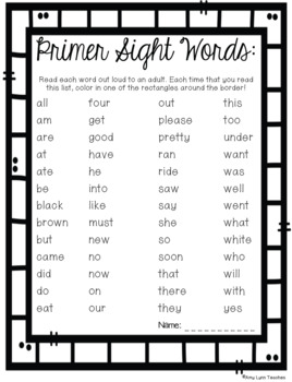 Primer Sight Words Assessments and Parental Support Helpers