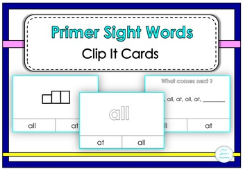 Primer Sight Words Clip It Cards