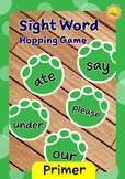 Primer Sight Words -- Dino Foot Prints Hopping Game