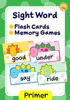 Primer Sight Words -- Dino Theme Flash Cards