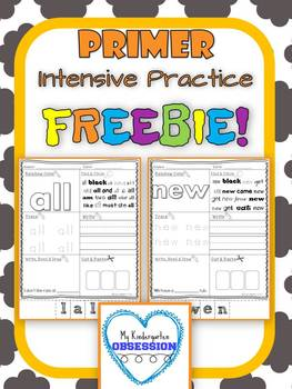 Primer Sight Words: Intensive Practice Free Sample