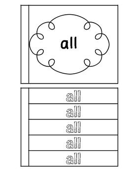 Primer Sight Words Homework Notebook