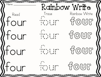 Primer Sight Words Rainbow Write