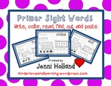 Primer Sight Words {Write, Color, Read, Find, Cut and Paste}
