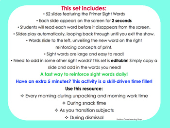 Primer Sight Word Slideshow