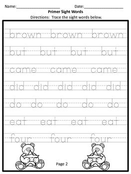Primer Trace the Sight Word Practice