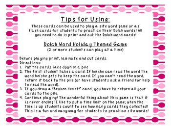 Primer Valentines Day Dolch Word Game