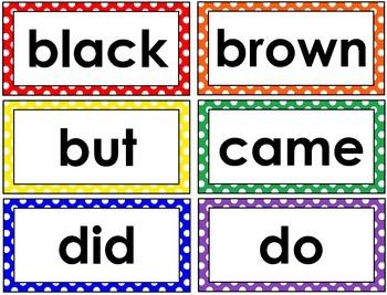 Primer Word Wall Cards (Polka Dot)