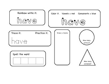 Daily 5 Primer Word Works Activities