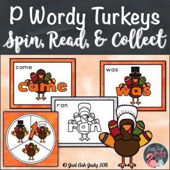 Primer Wordy Turkeys Sight Word Game