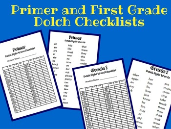 Primer and First Grade Dolch List Checklist