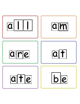 Primer dolch sight words with word shape outlines
