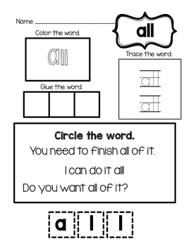 Primer sight Words Packet