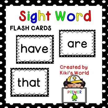 Primer sight word flash cards (Word Wall)