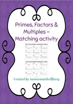 Primes, Factors & Multiples - Matching activity