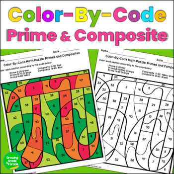 Primes and Composites Color By Code Math Puzzle