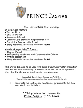Prince Caspian Novel Study Book Unit