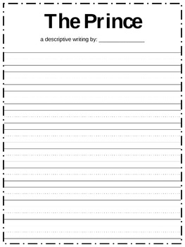 Prince Descriptive Writing Paper