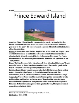 Prince Edward Island - Canada review article lesson facts information questions