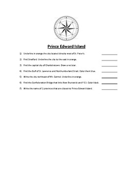 Prince Edward Island Map Scavenger Hunt