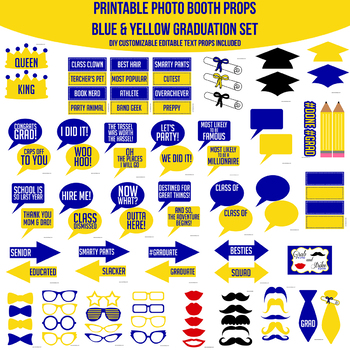 Blue & Yellow Grad with Editable Text Props Printable Photo Booth Prop Set