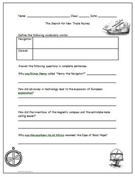 Prince Henry Navigation Caravel Trade Routes Worksheet Answer Key