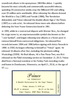 Prince Rogers Nelson Handout