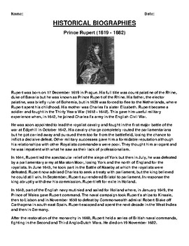 Prince Rupert  Biography Article and (3) Assignments