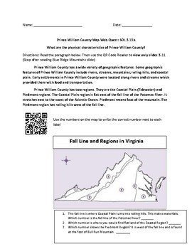 Prince William County Geography QR Code Web Quest
