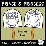 Prince and Princess Stick Puppet Templates