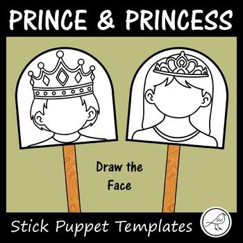 Prince and Princess Stick Puppet Templates