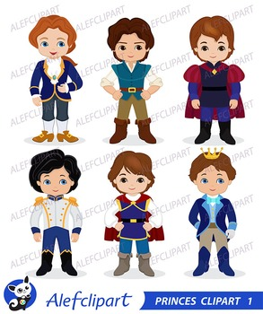 Princes Digital Clipart / Fairytale Princes, Cute Princes Digital Clipart