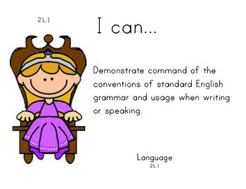 Princess 2nd grade English Common core standards posters