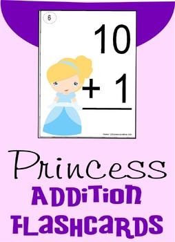 Princess Addition Flashcards (0-10) - Kindergarten & 1st Grade Math