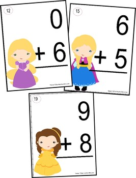 Princess Addition Flashcards (0-10) - Kindergarten & 1st Grade Math
