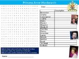 Princess Anne Wordsearch Puzzle Sheet Keywords British Royal Family