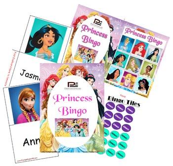 Princess Bingo Game (Elsa, Cinderella, Snow White, Ariel)