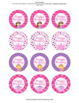 Princess Fairytale Birthday Pencil Toppers