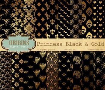 Princess Black and gold digital paper fantasy patterns backgrounds