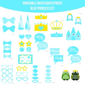 Princess Blue Printable Photo Booth Prop Set