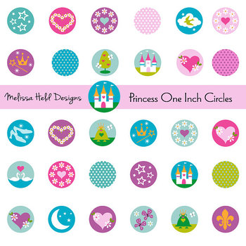 Princess One Inch Circles Clipart