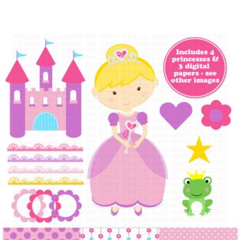 Princess Clip Art - Princess Clipart - Castle Clip Art - C